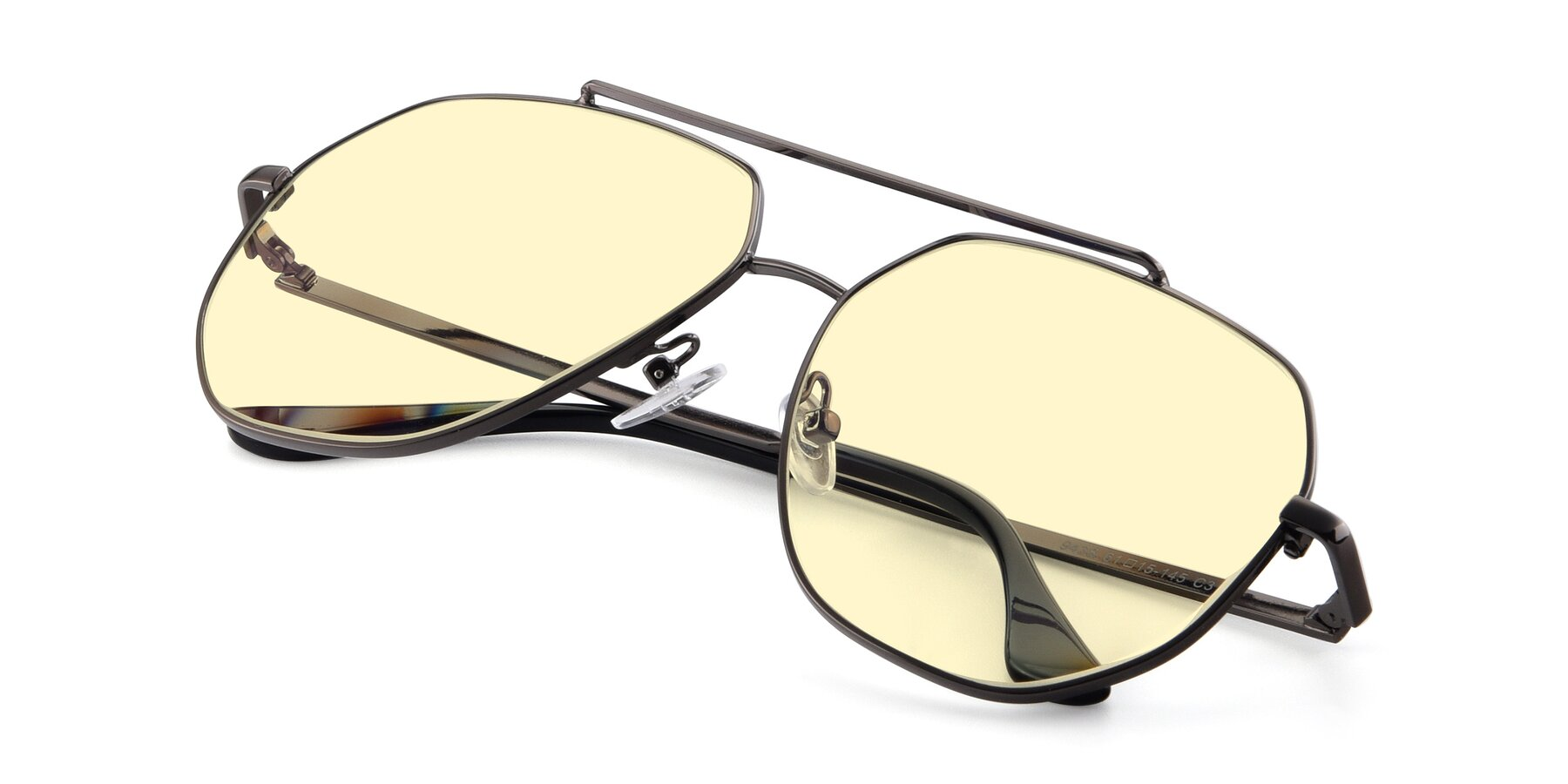 View of 9438 in Gunmetal with Light Yellow Tinted Lenses