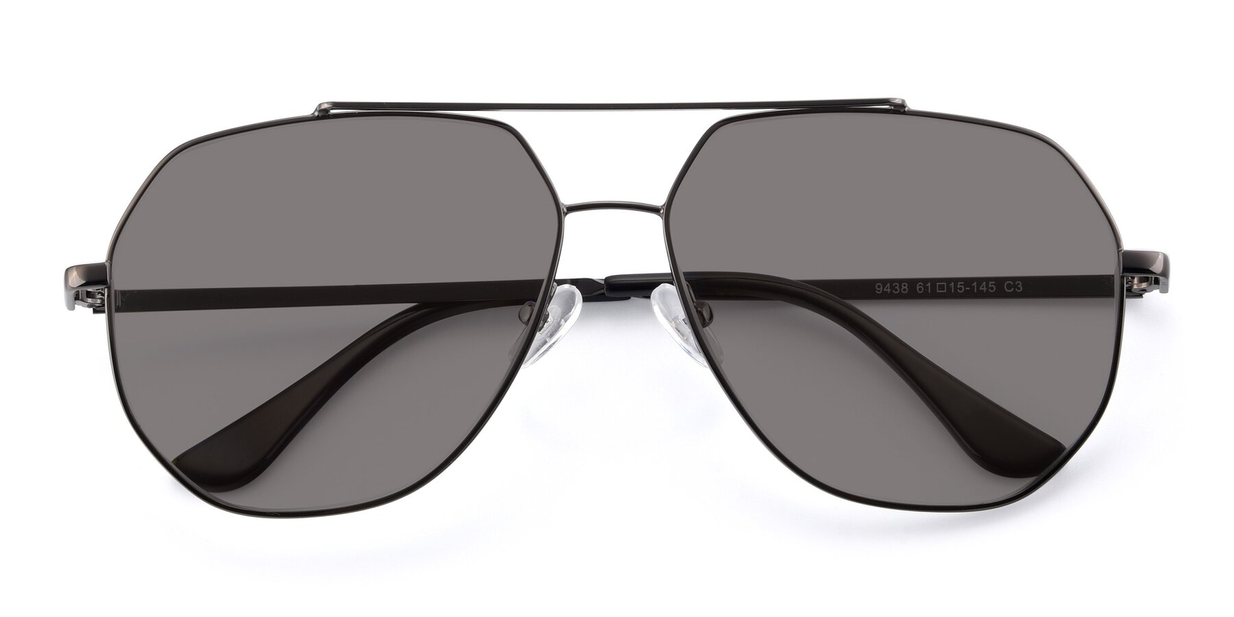 Folded Front of 9438 in Gunmetal with Medium Gray Tinted Lenses