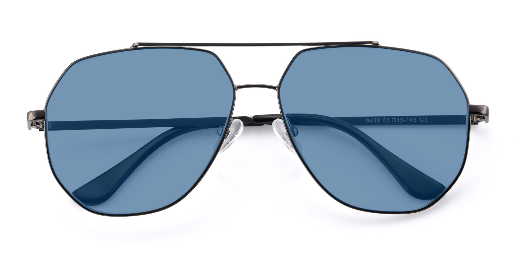 Folded Front of 9438 in Gunmetal with Medium Blue Tinted Lenses