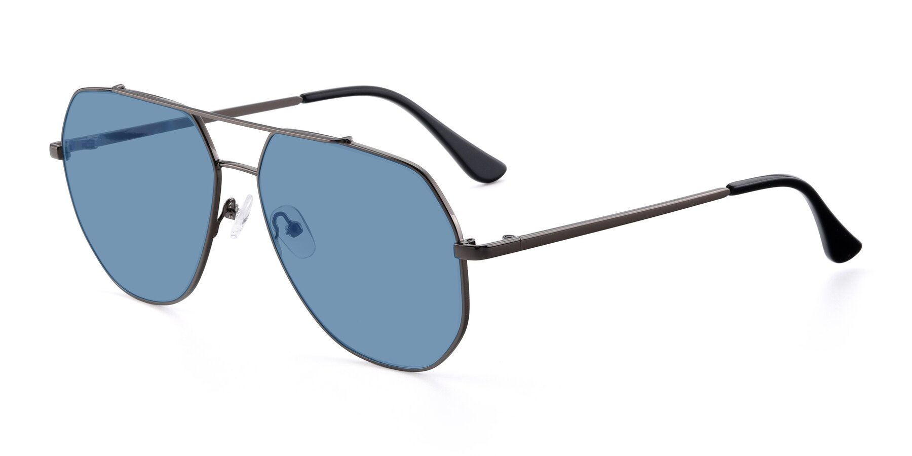 Angle of 9438 in Gunmetal with Medium Blue Tinted Lenses
