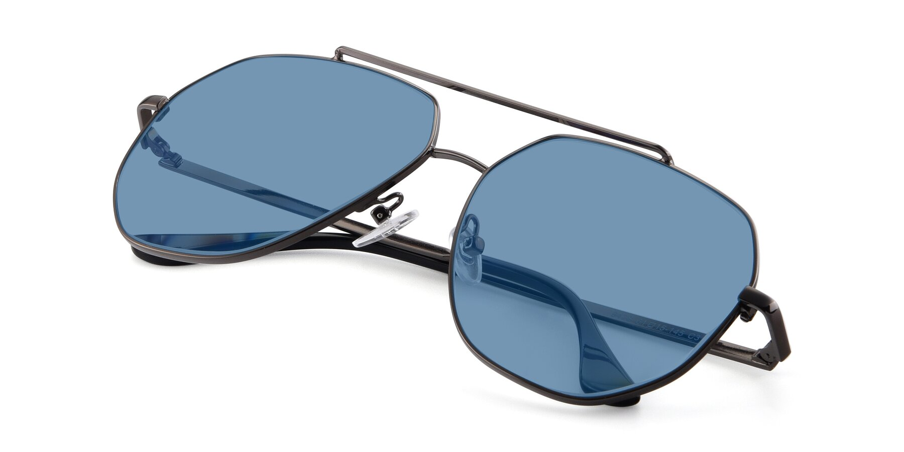 View of 9438 in Gunmetal with Medium Blue Tinted Lenses