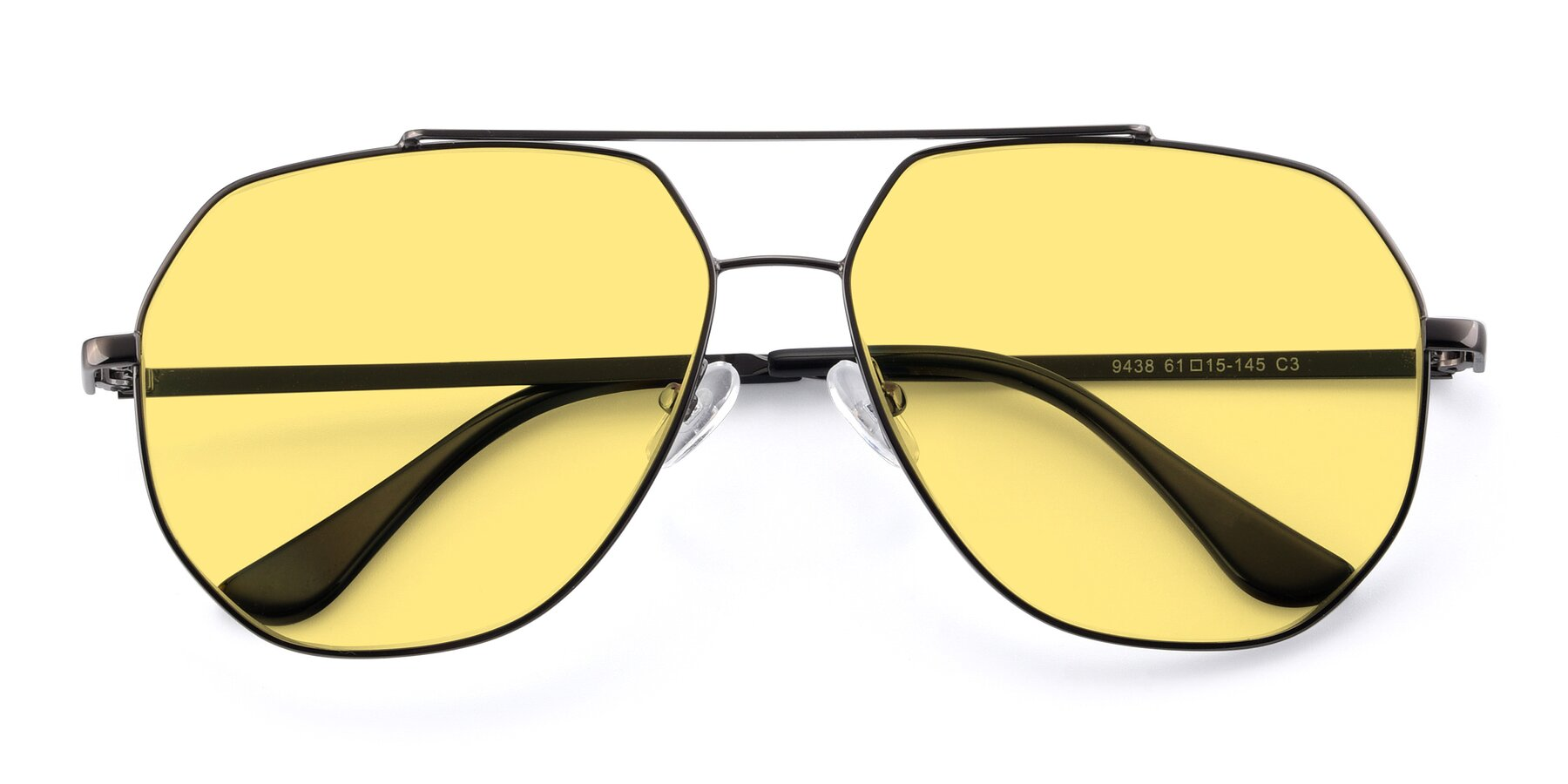 Folded Front of 9438 in Gunmetal with Medium Yellow Tinted Lenses