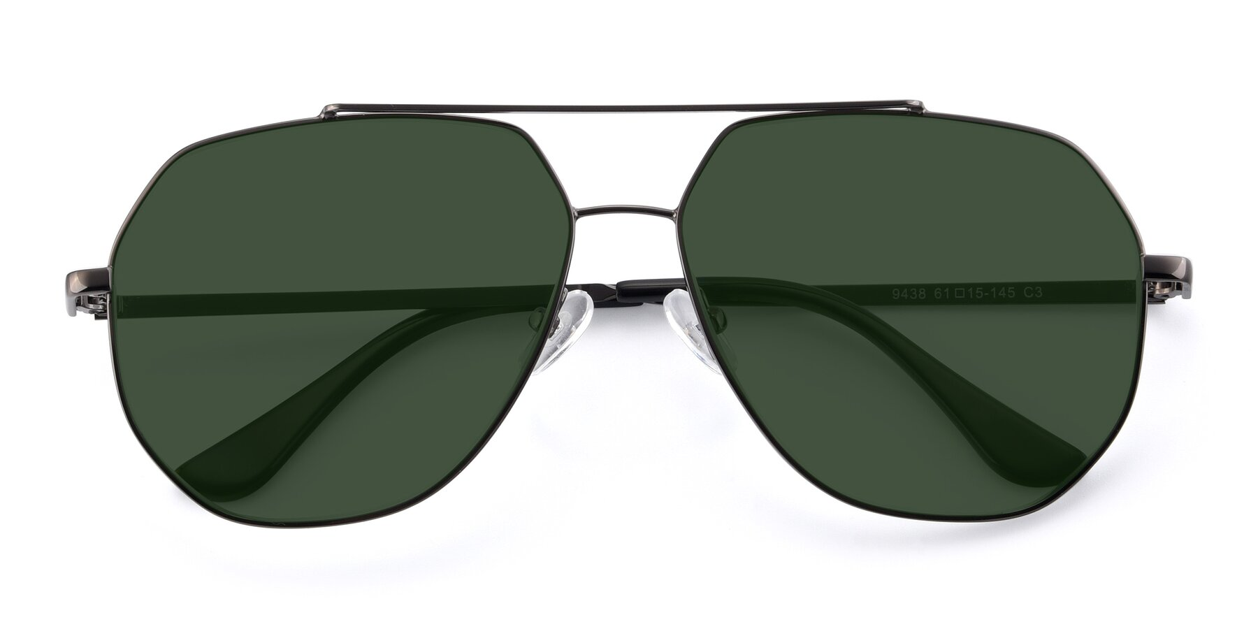 Folded Front of 9438 in Gunmetal with Green Tinted Lenses