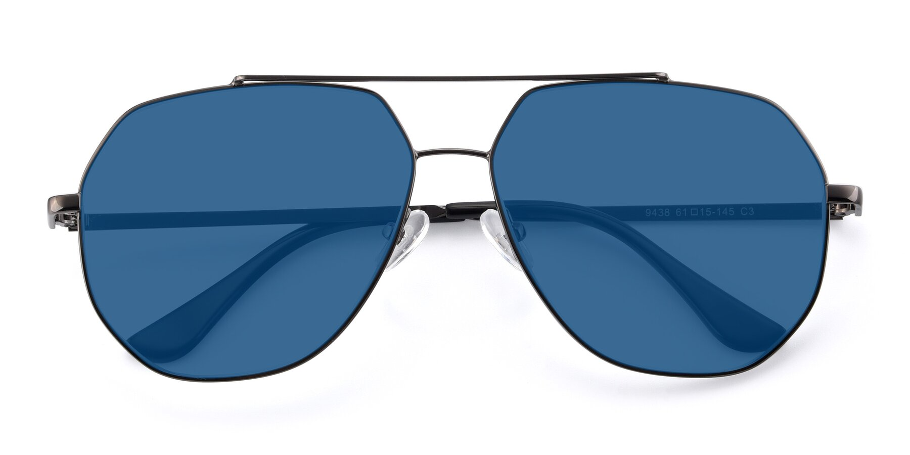 Folded Front of 9438 in Gunmetal with Blue Tinted Lenses