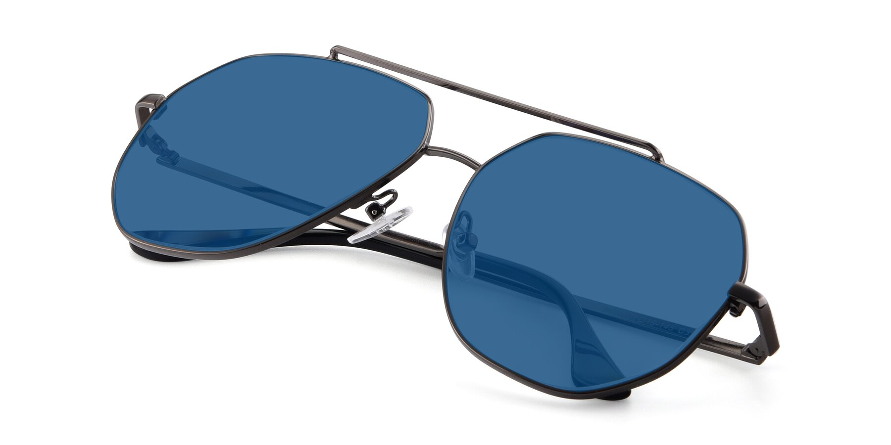View of 9438 in Gunmetal with Blue Tinted Lenses