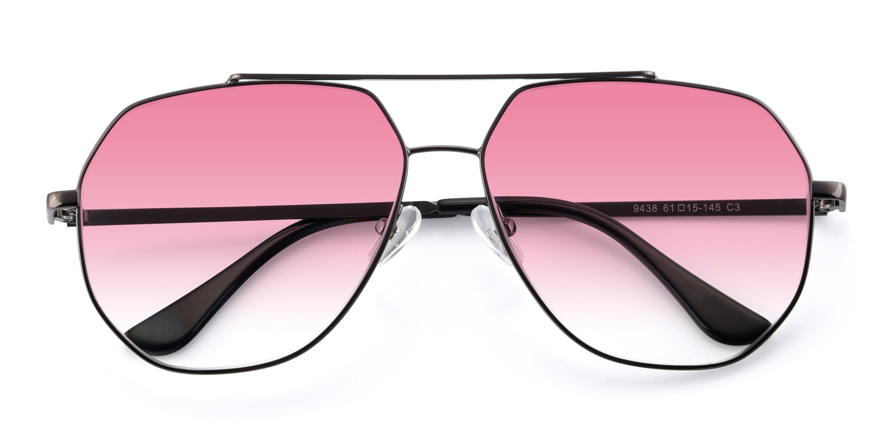 Folded Front of 9438 in Gunmetal with Pink Gradient Lenses