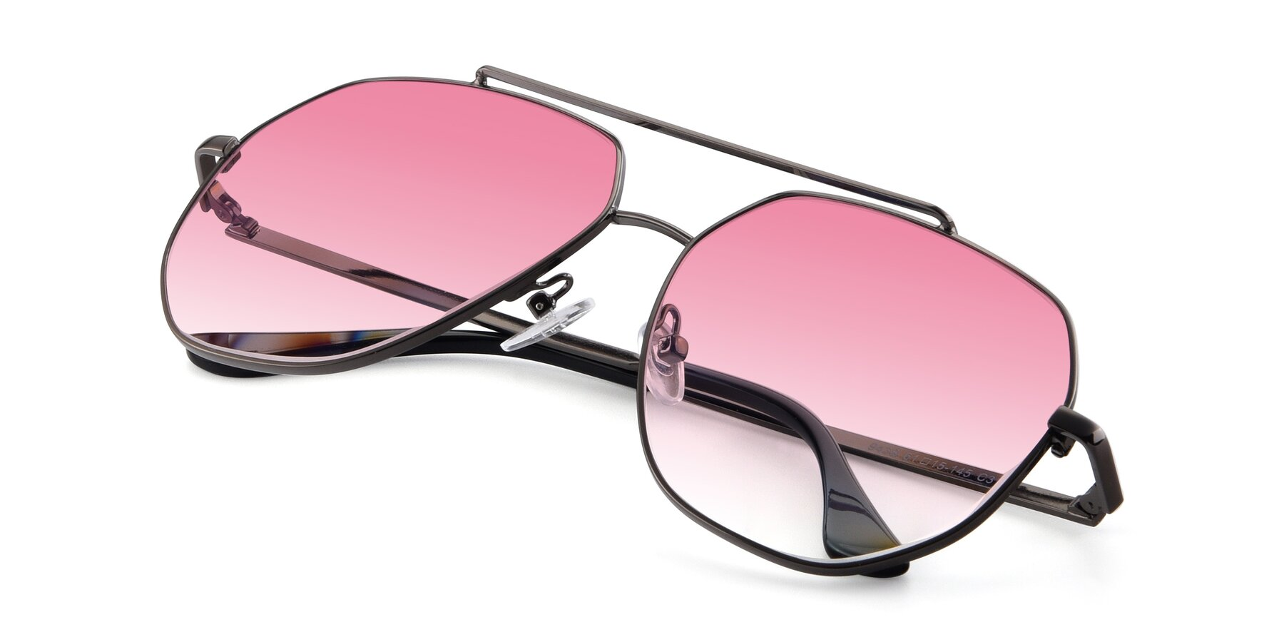 View of 9438 in Gunmetal with Pink Gradient Lenses