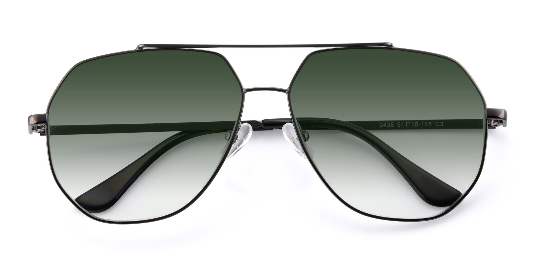 Folded Front of 9438 in Gunmetal with Green Gradient Lenses