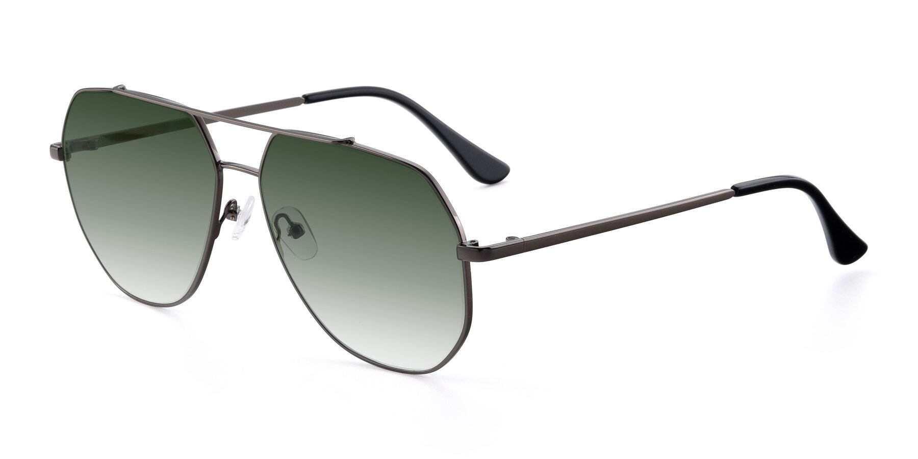 Angle of 9438 in Gunmetal with Green Gradient Lenses