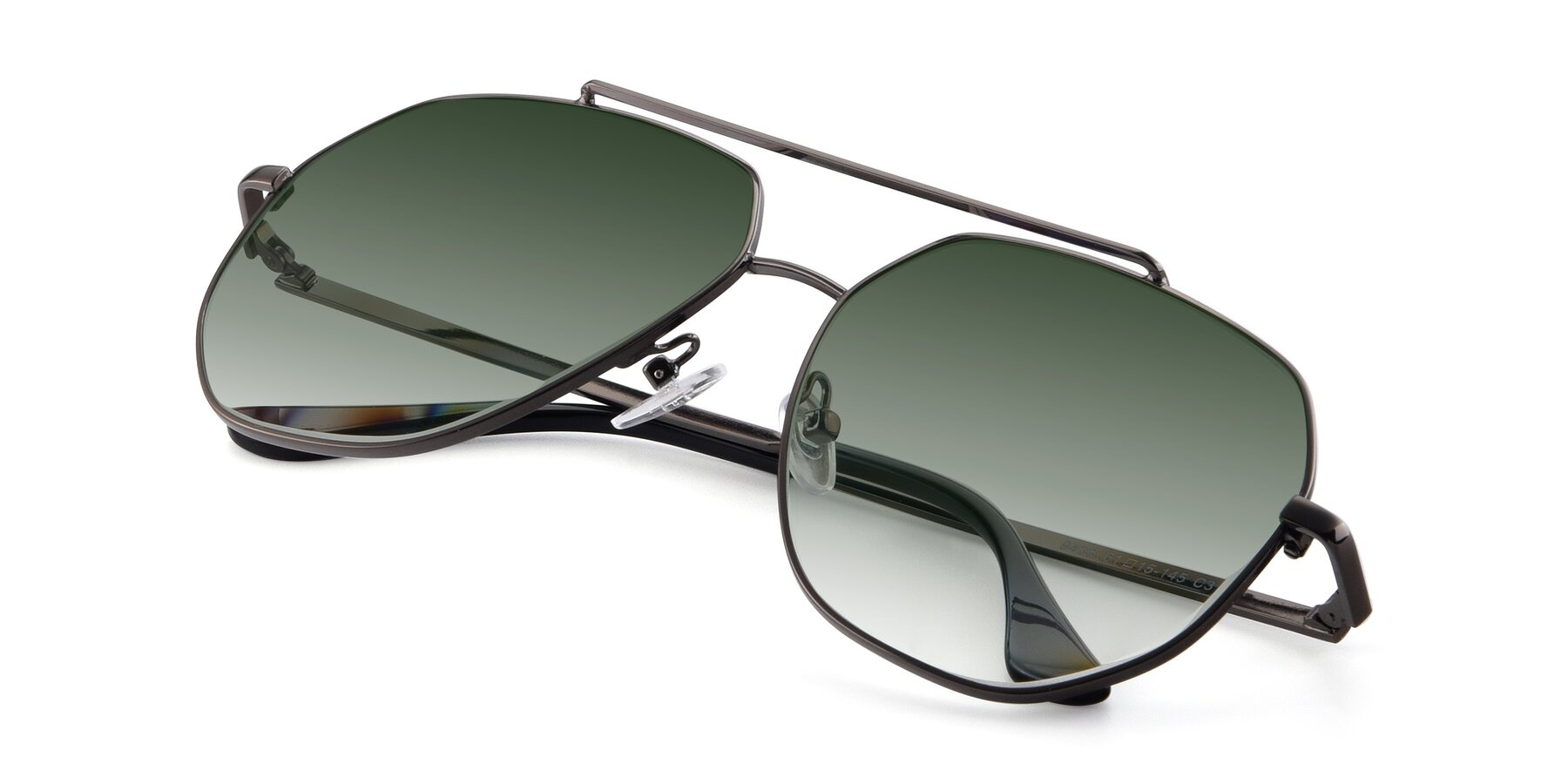 View of 9438 in Gunmetal with Green Gradient Lenses