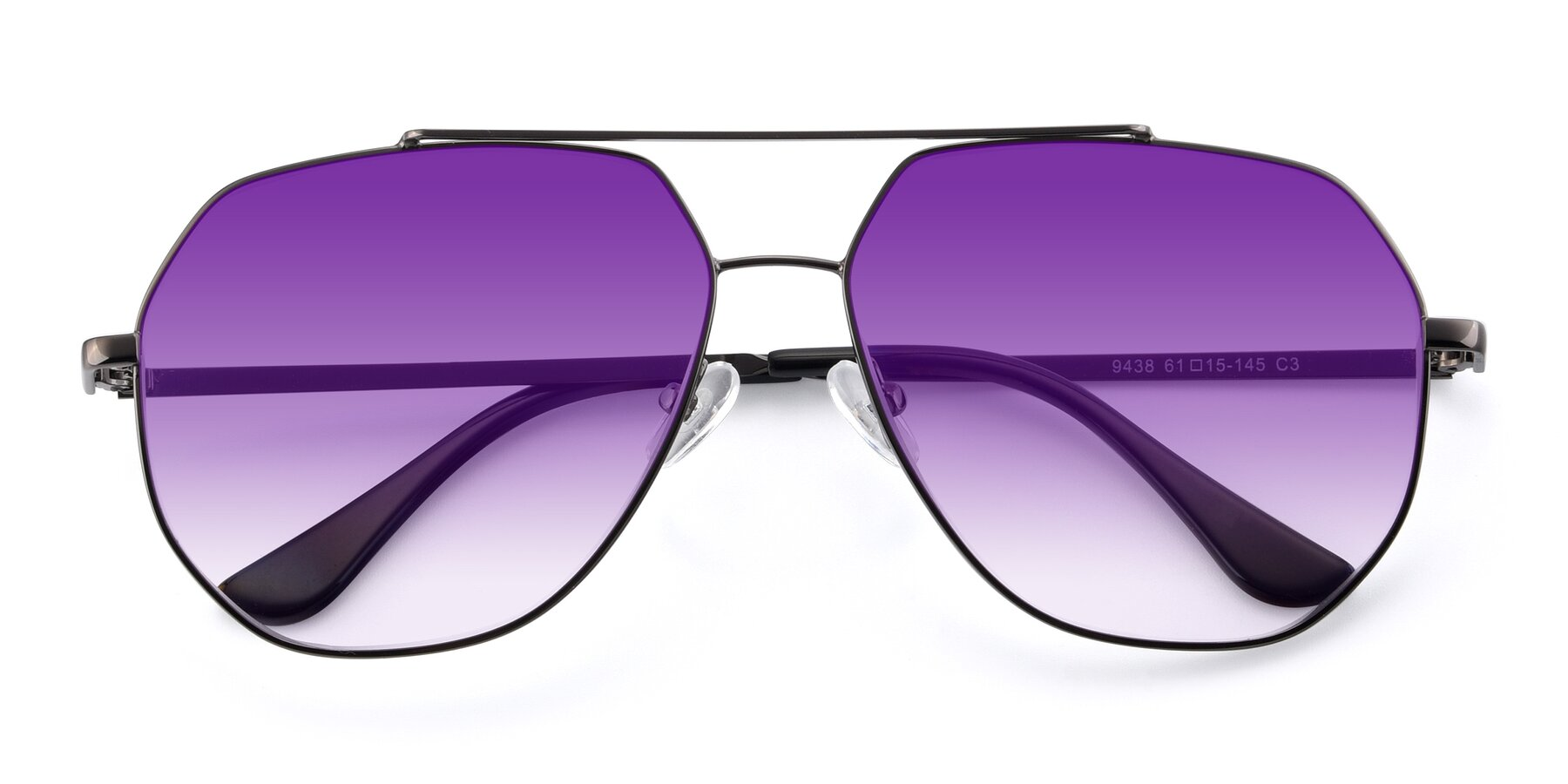Folded Front of 9438 in Gunmetal with Purple Gradient Lenses