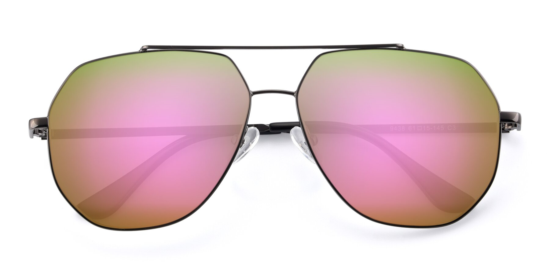 Folded Front of 9438 in Gunmetal with Pink Mirrored Lenses