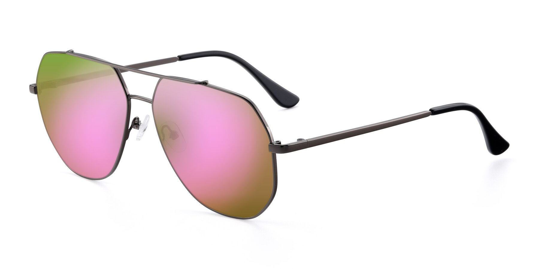Angle of 9438 in Gunmetal with Pink Mirrored Lenses