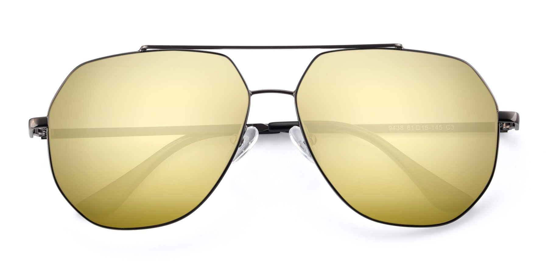 Folded Front of 9438 in Gunmetal with Gold Mirrored Lenses