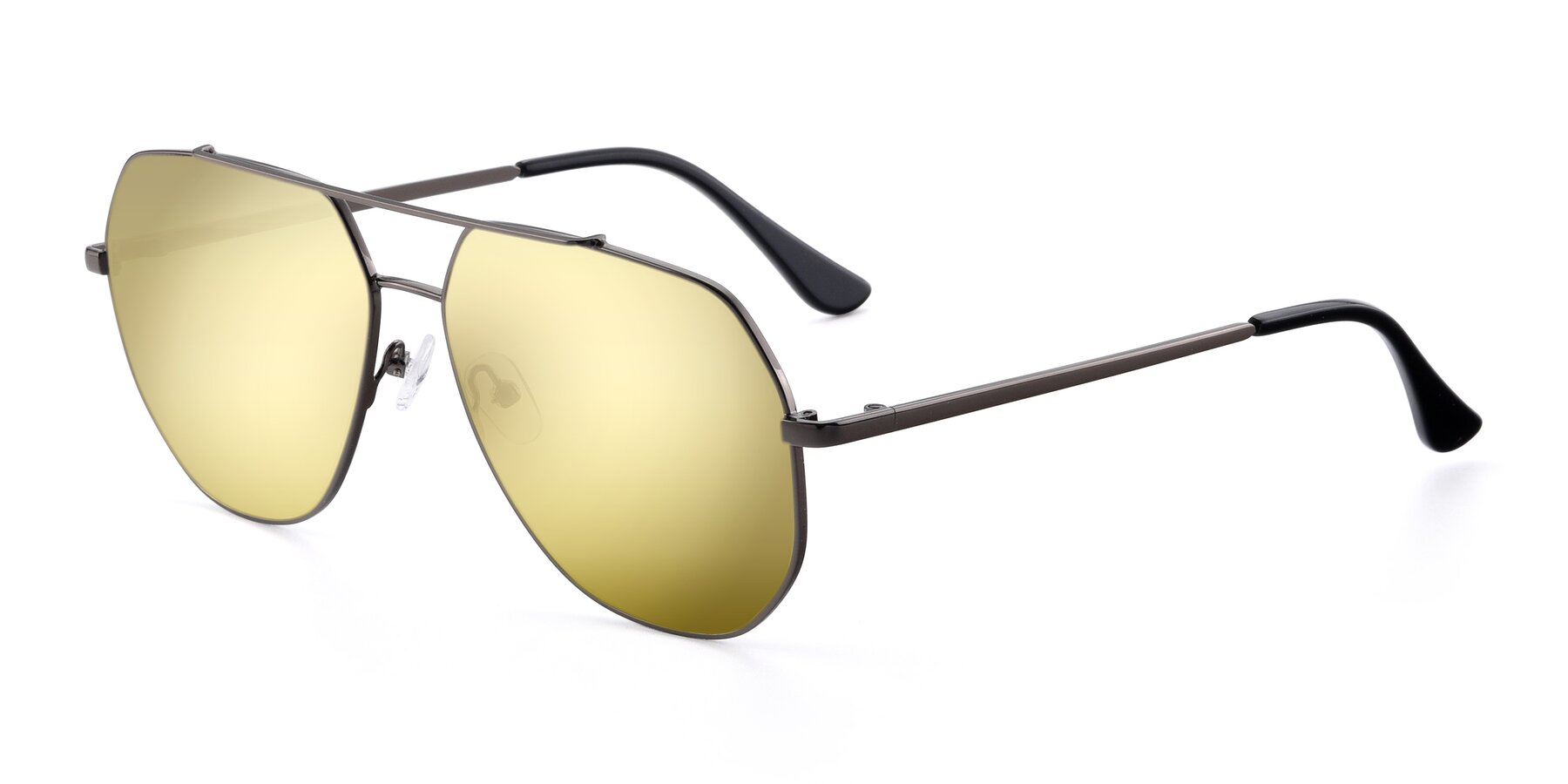 Angle of 9438 in Gunmetal with Gold Mirrored Lenses