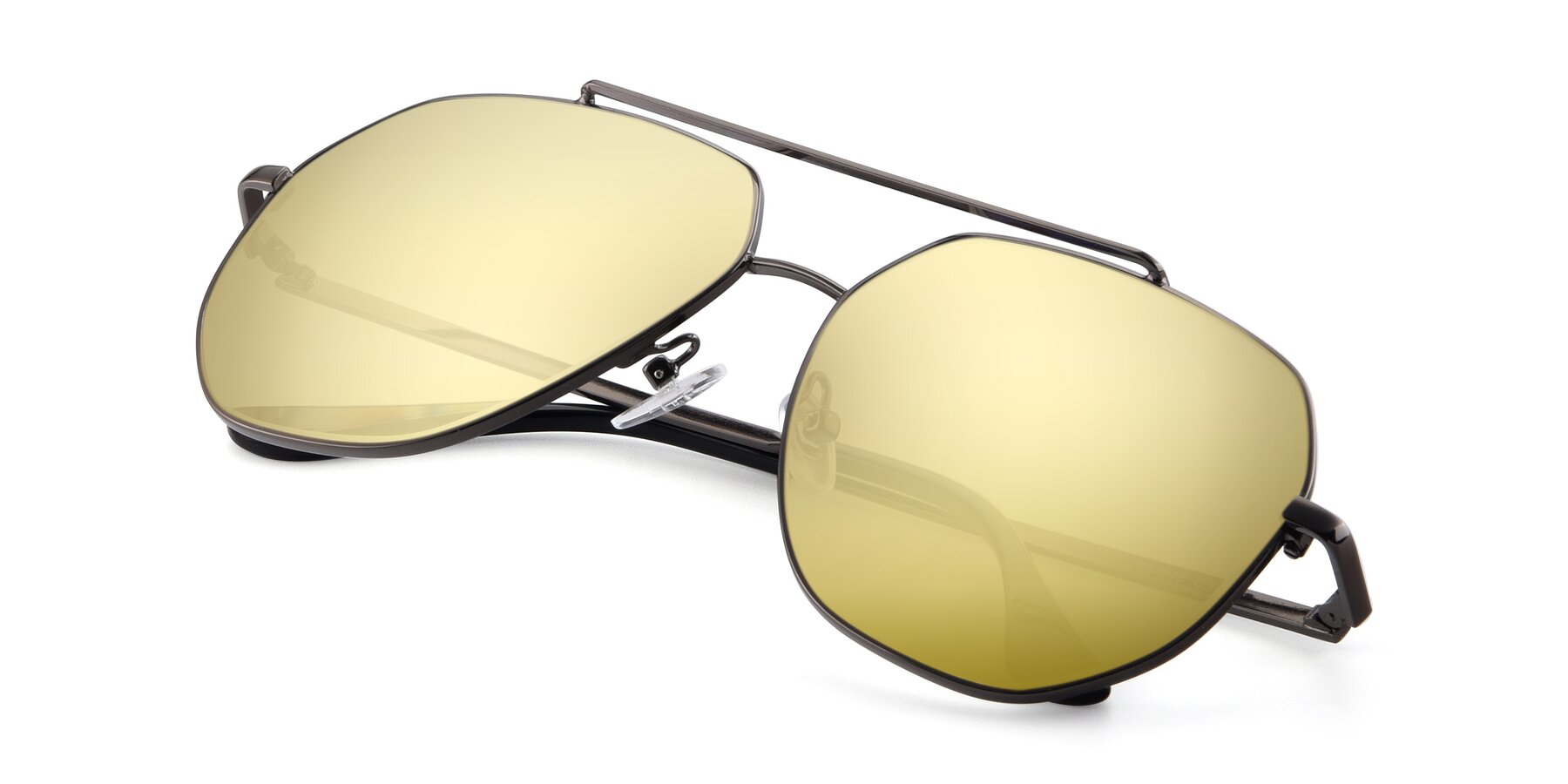 View of 9438 in Gunmetal with Gold Mirrored Lenses