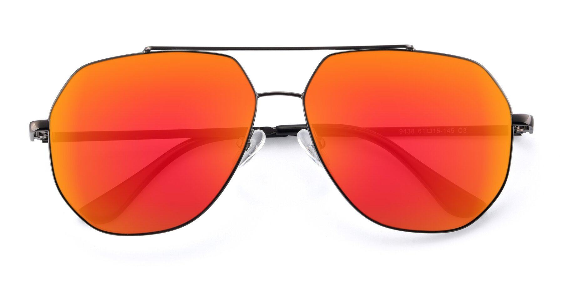 Folded Front of 9438 in Gunmetal with Red Gold Mirrored Lenses