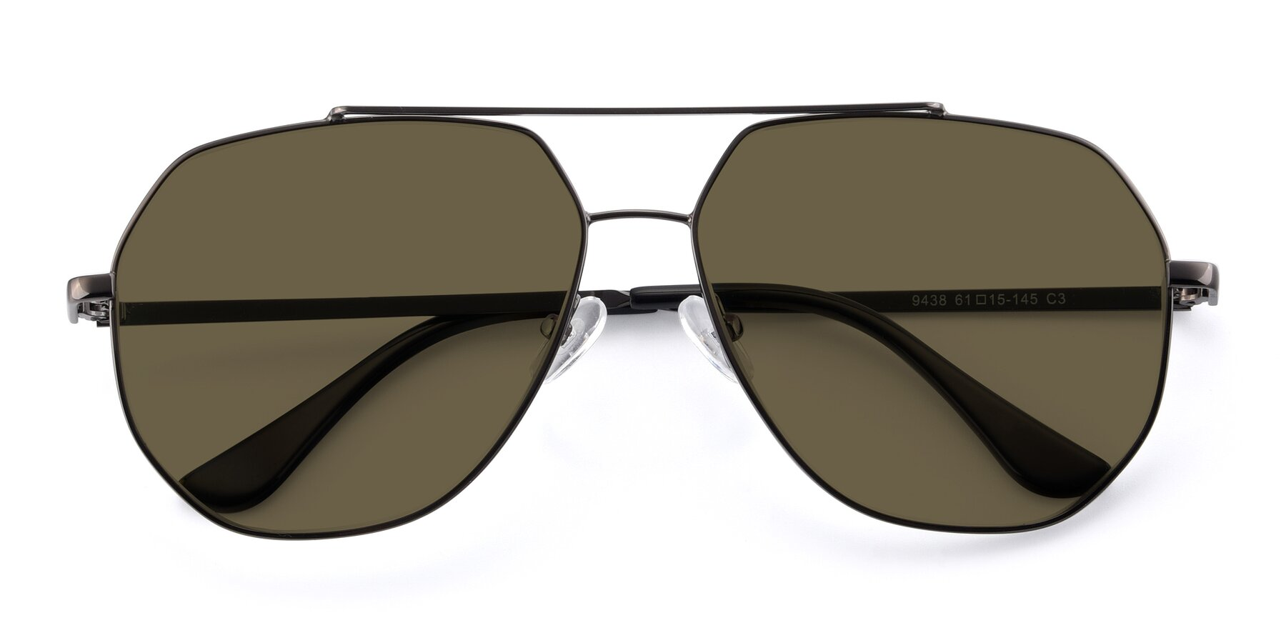 Folded Front of 9438 in Gunmetal with Brown Polarized Lenses