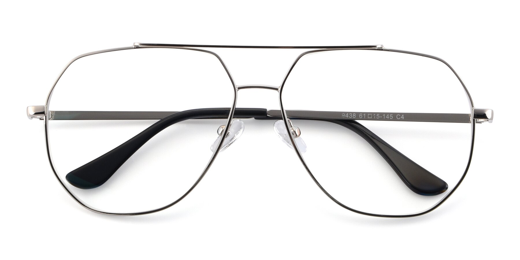 Folded Front of 9438 in Silver with Clear Eyeglass Lenses
