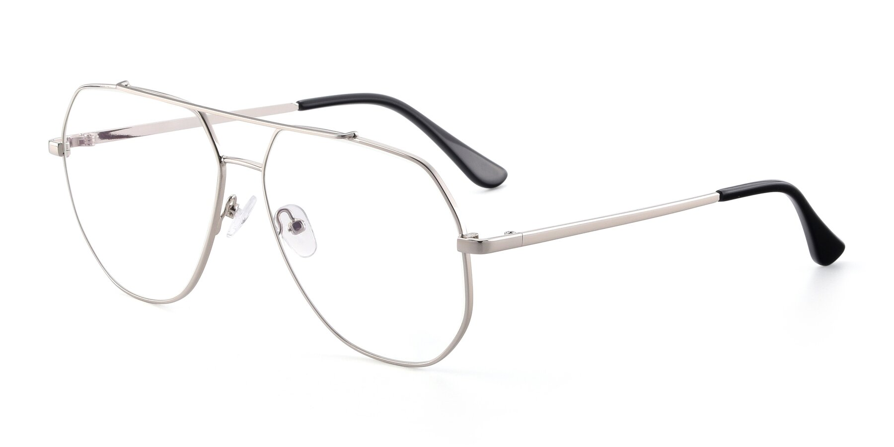 Angle of 9438 in Silver with Clear Eyeglass Lenses