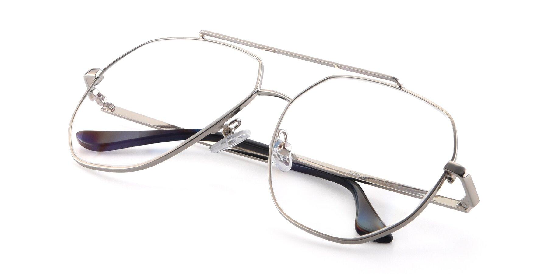 View of 9438 in Silver with Clear Eyeglass Lenses