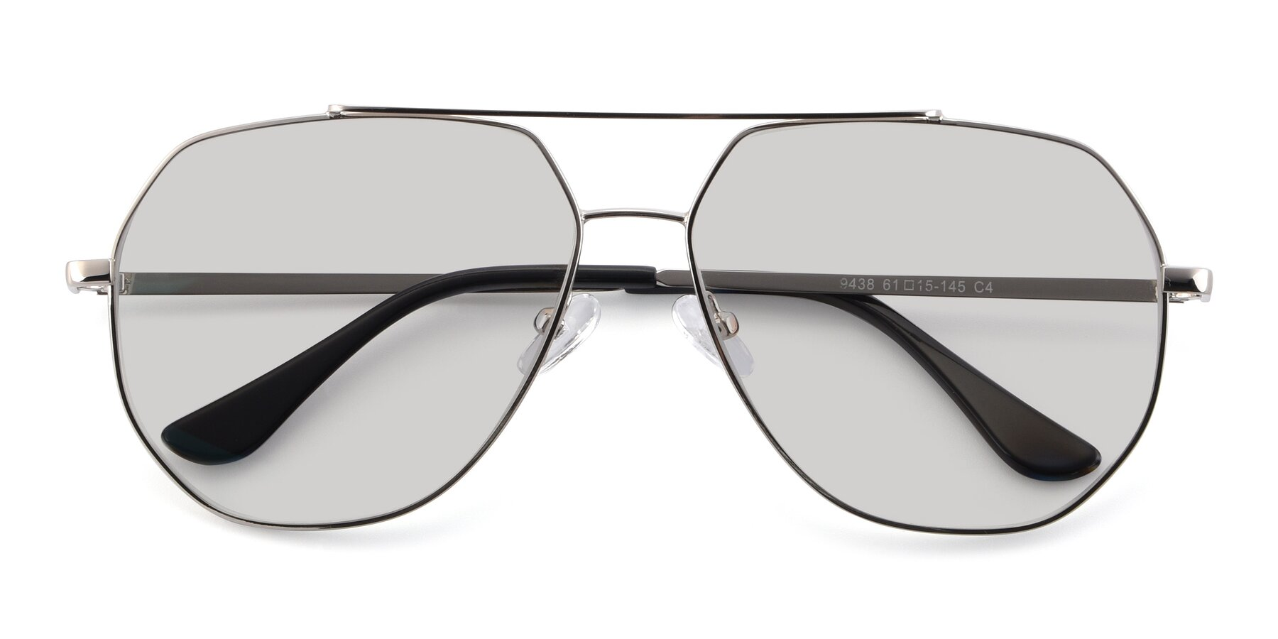 Folded Front of 9438 in Silver with Light Gray Tinted Lenses