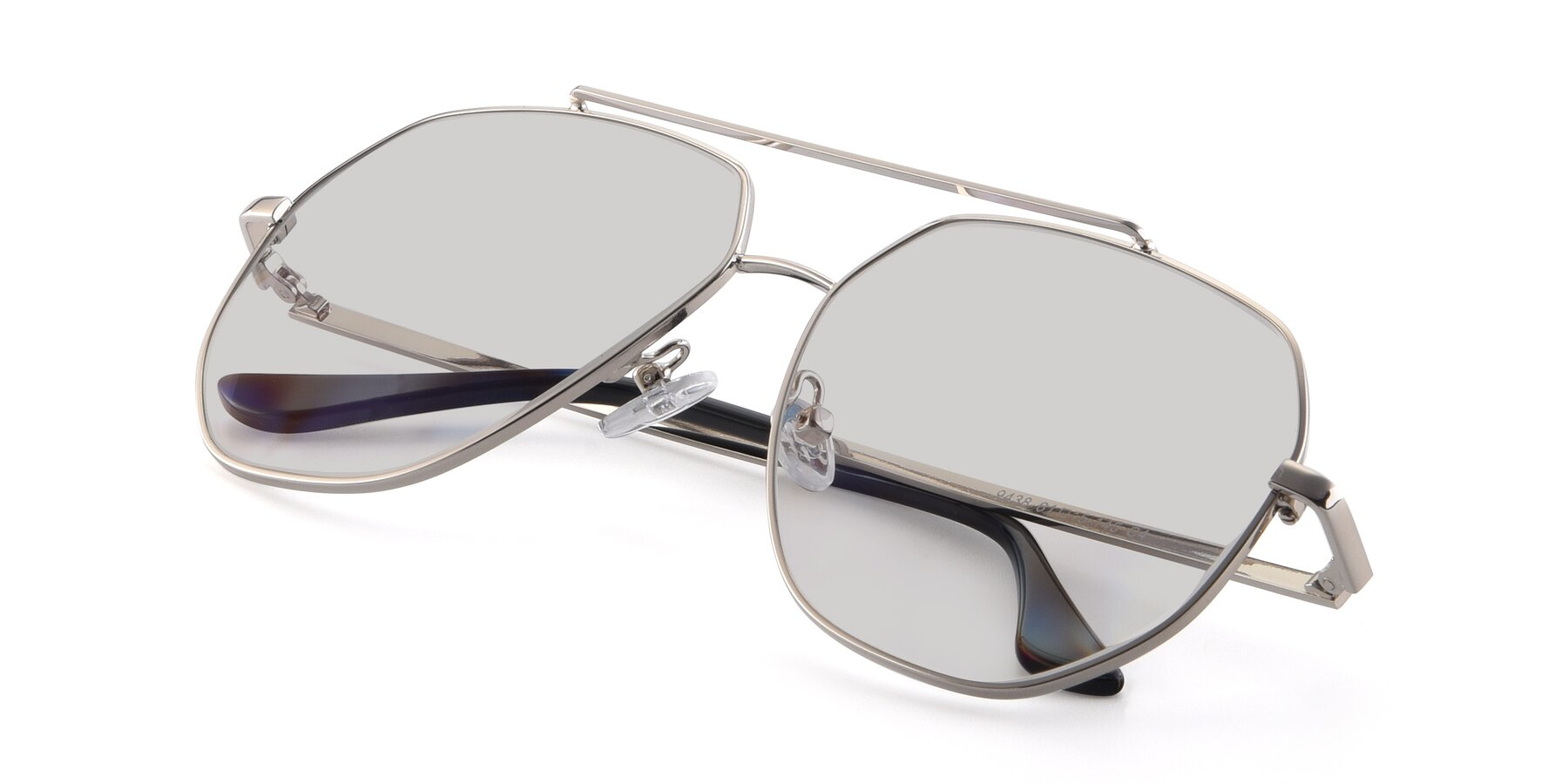 View of 9438 in Silver with Light Gray Tinted Lenses