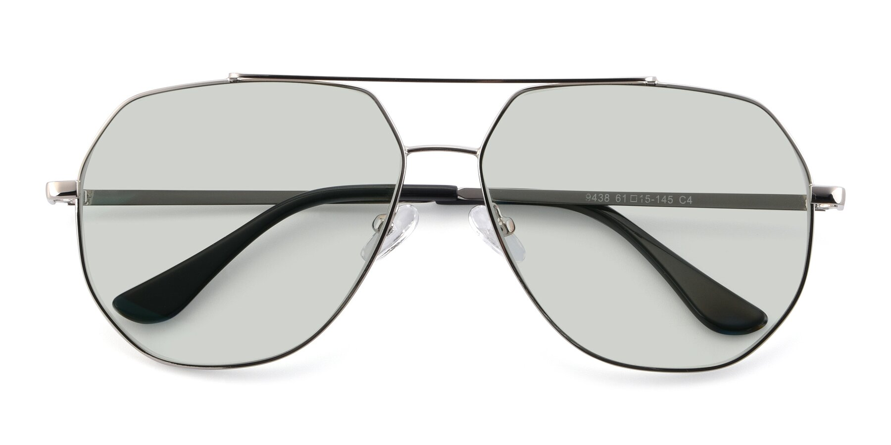 Folded Front of 9438 in Silver with Light Green Tinted Lenses