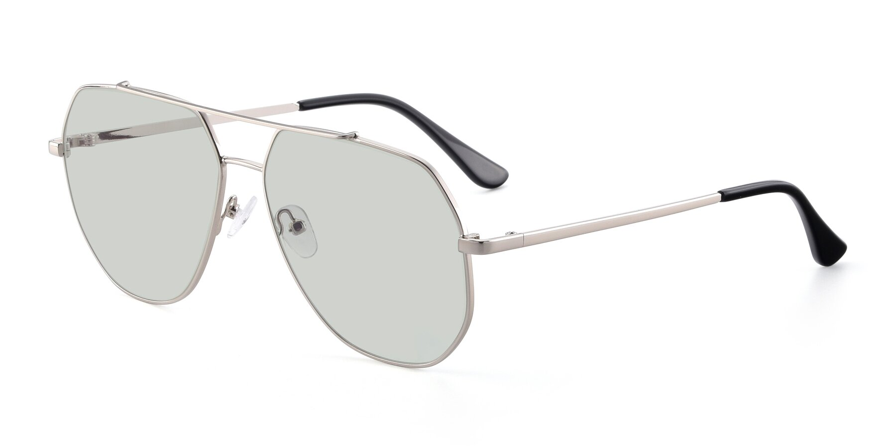 Angle of 9438 in Silver with Light Green Tinted Lenses