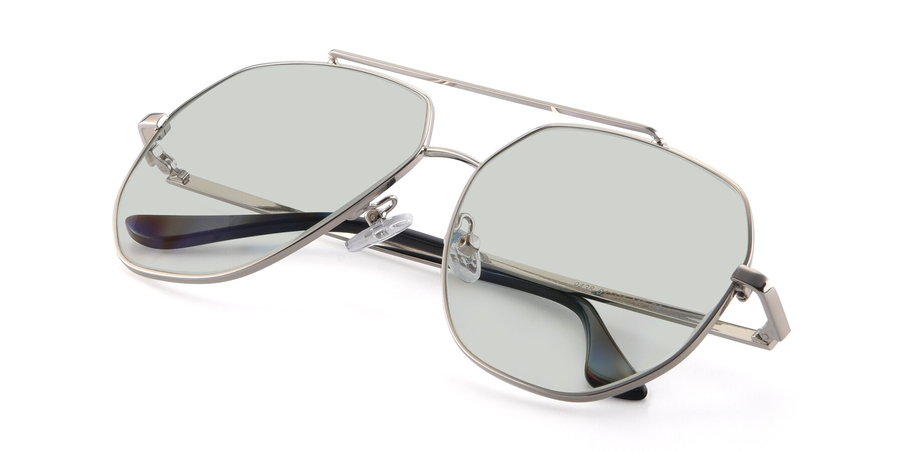 View of 9438 in Silver with Light Green Tinted Lenses