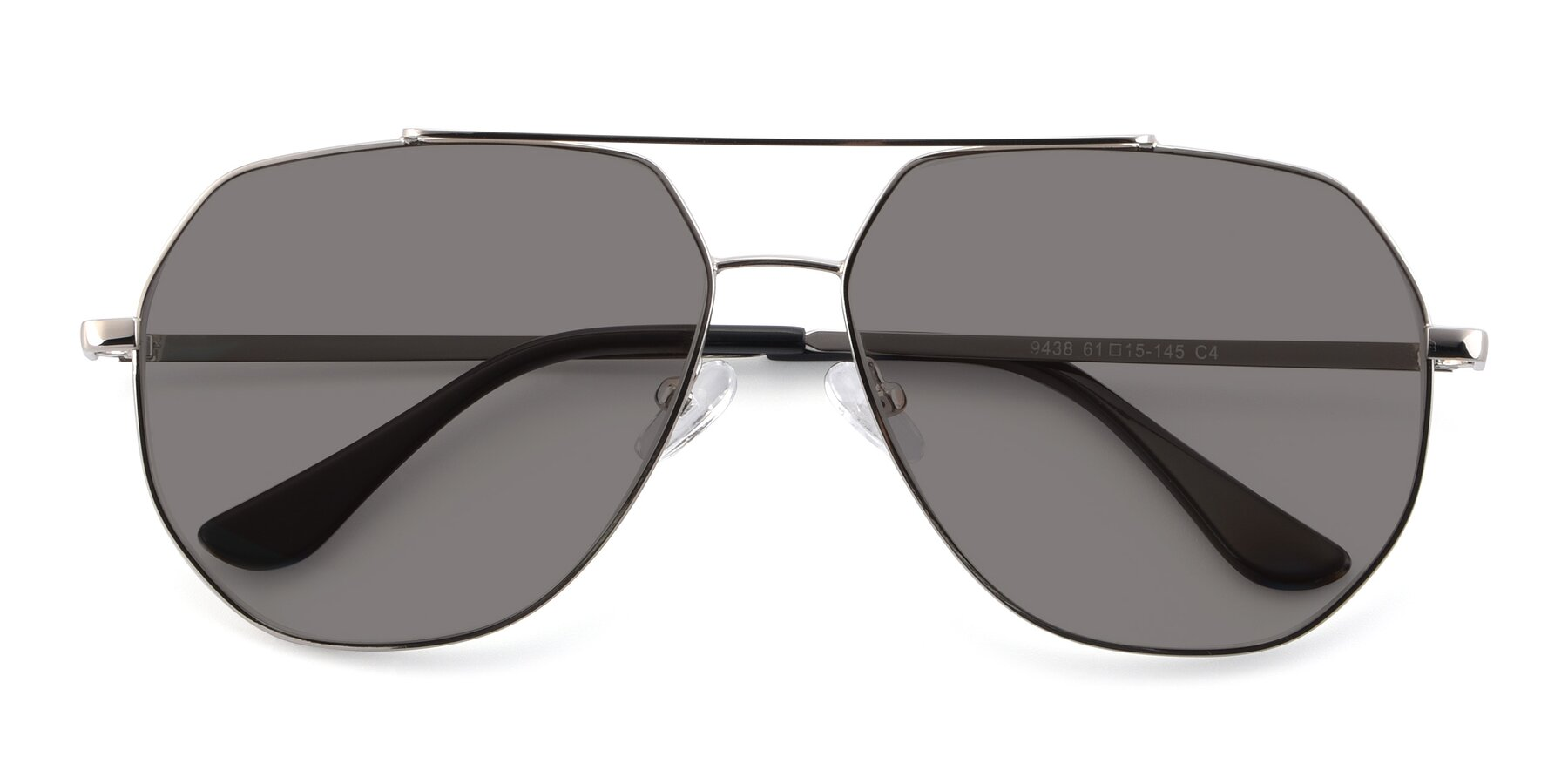 Folded Front of 9438 in Silver with Medium Gray Tinted Lenses