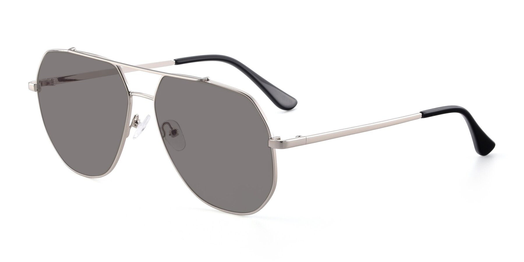 Angle of 9438 in Silver with Medium Gray Tinted Lenses