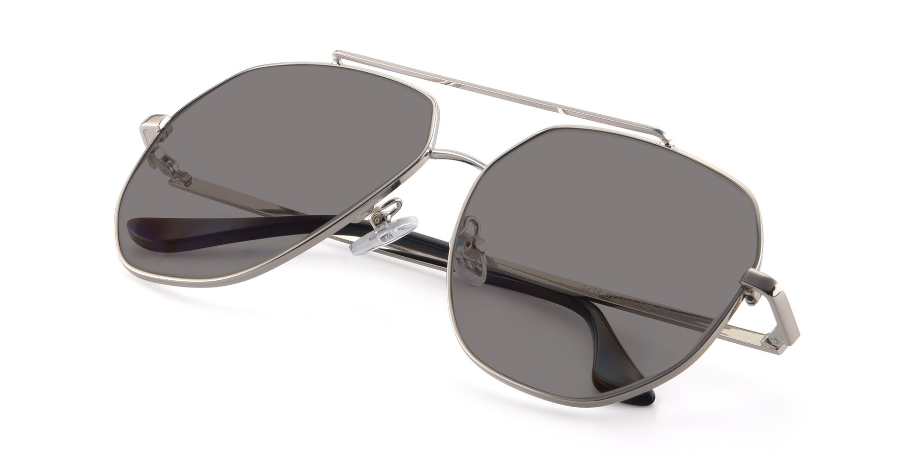 View of 9438 in Silver with Medium Gray Tinted Lenses