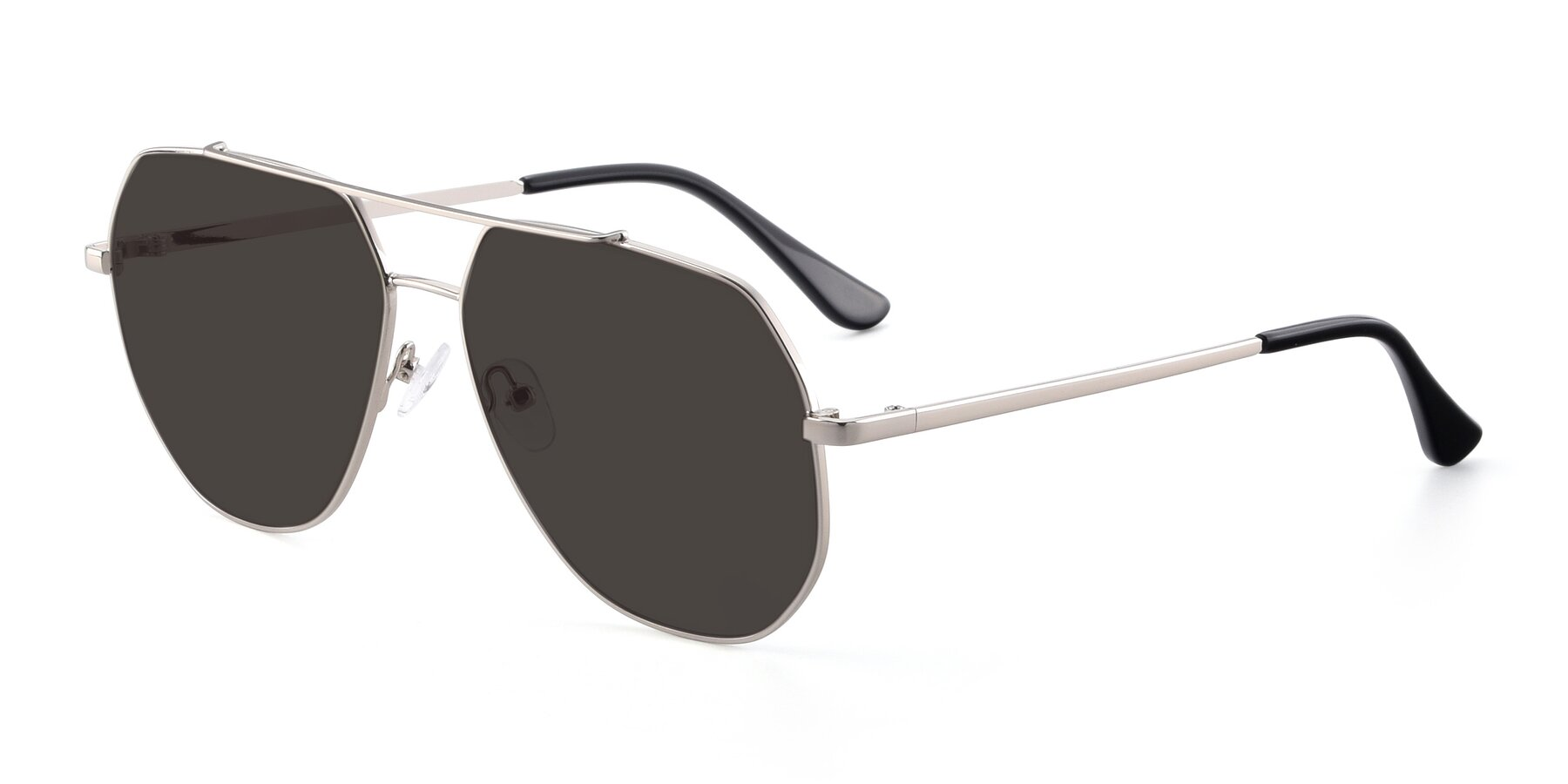 Angle of 9438 in Silver with Gray Tinted Lenses