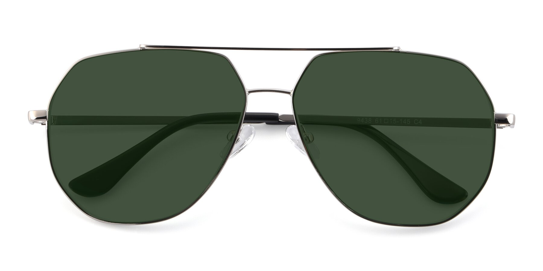Folded Front of 9438 in Silver with Green Tinted Lenses