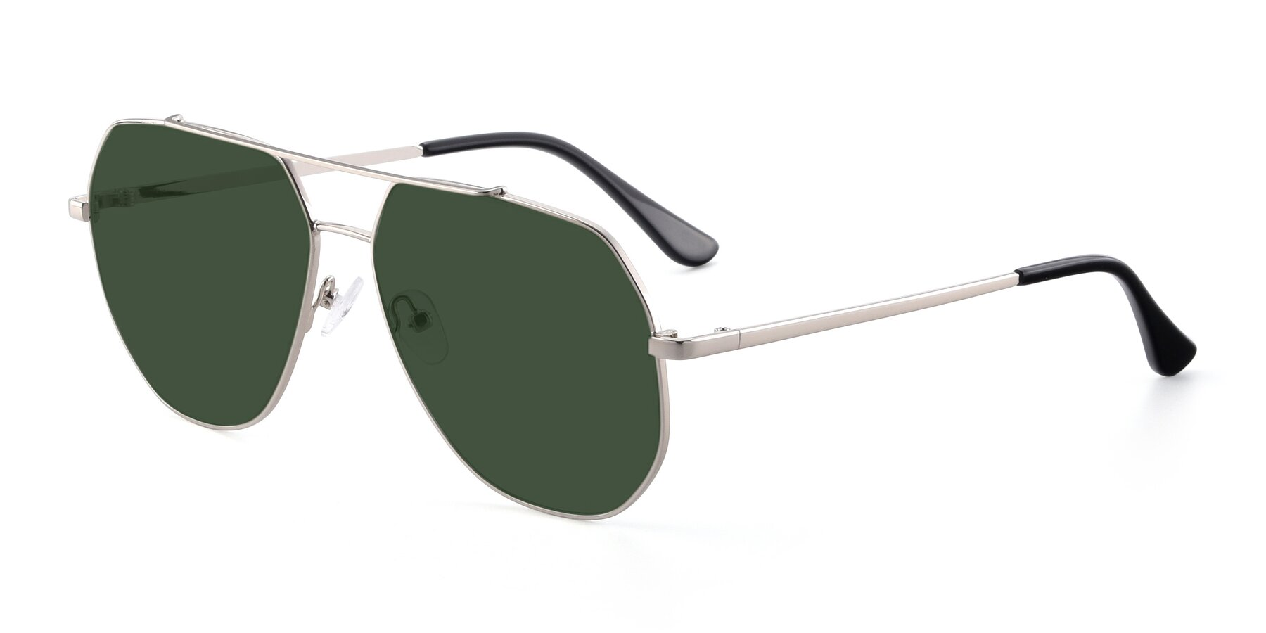 Angle of 9438 in Silver with Green Tinted Lenses
