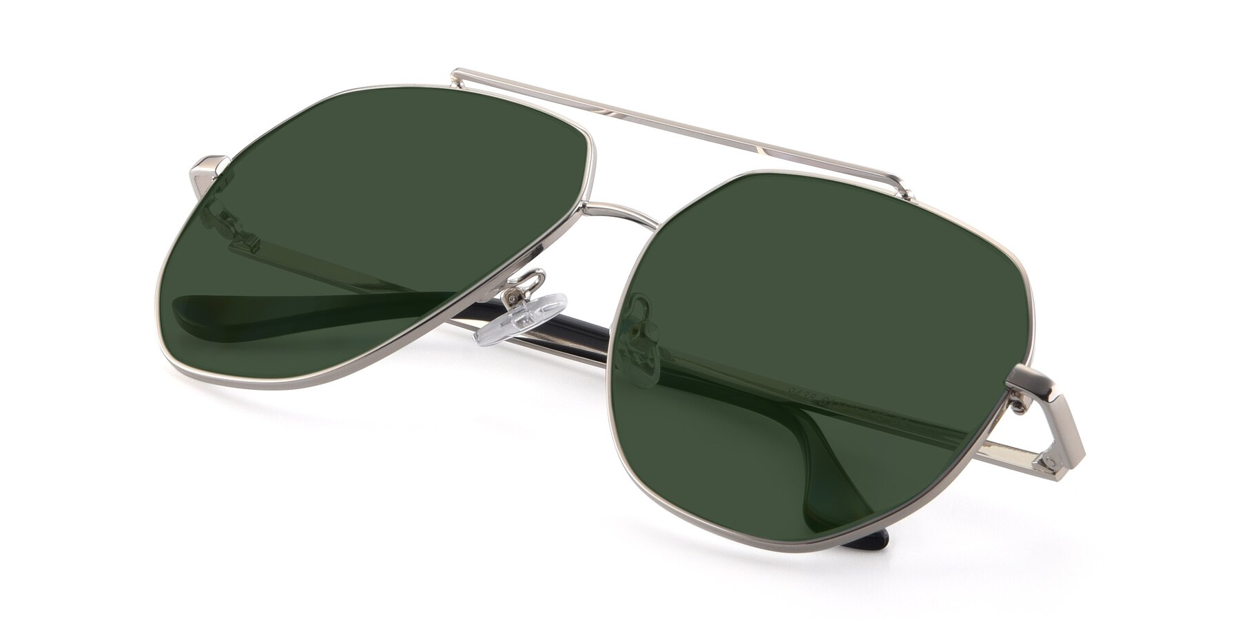 View of 9438 in Silver with Green Tinted Lenses