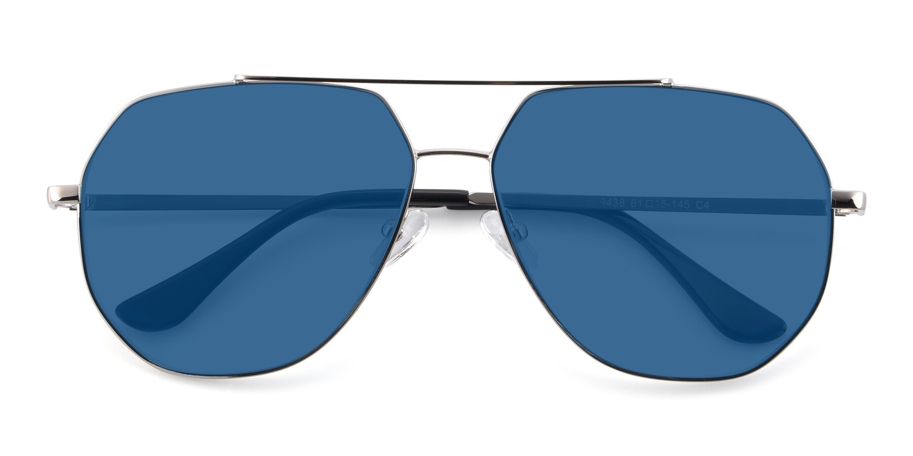 Folded Front of 9438 in Silver with Blue Tinted Lenses