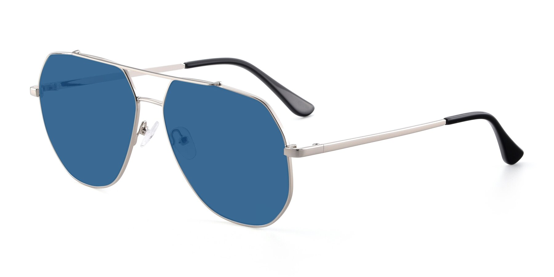 Angle of 9438 in Silver with Blue Tinted Lenses