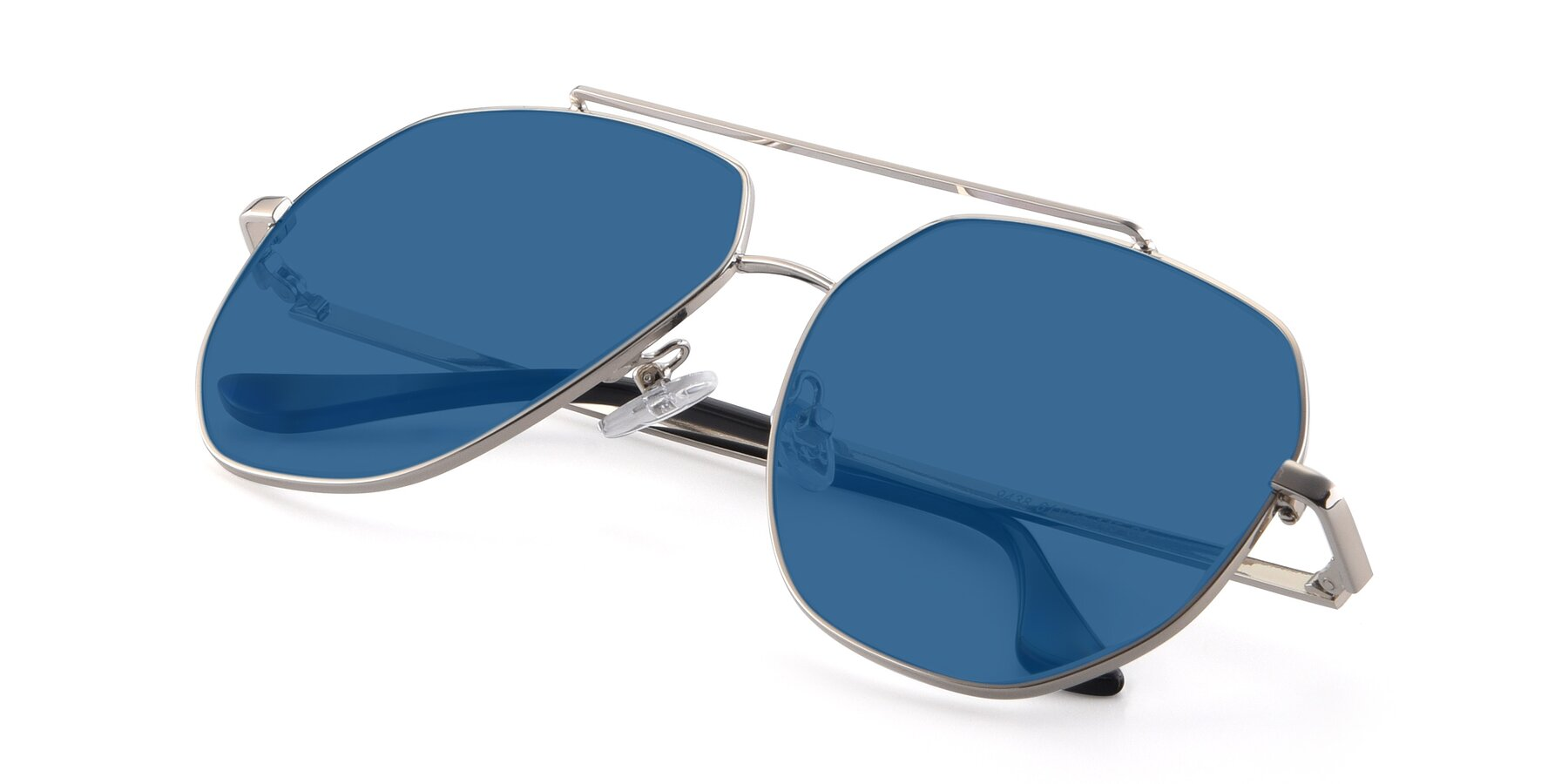 View of 9438 in Silver with Blue Tinted Lenses