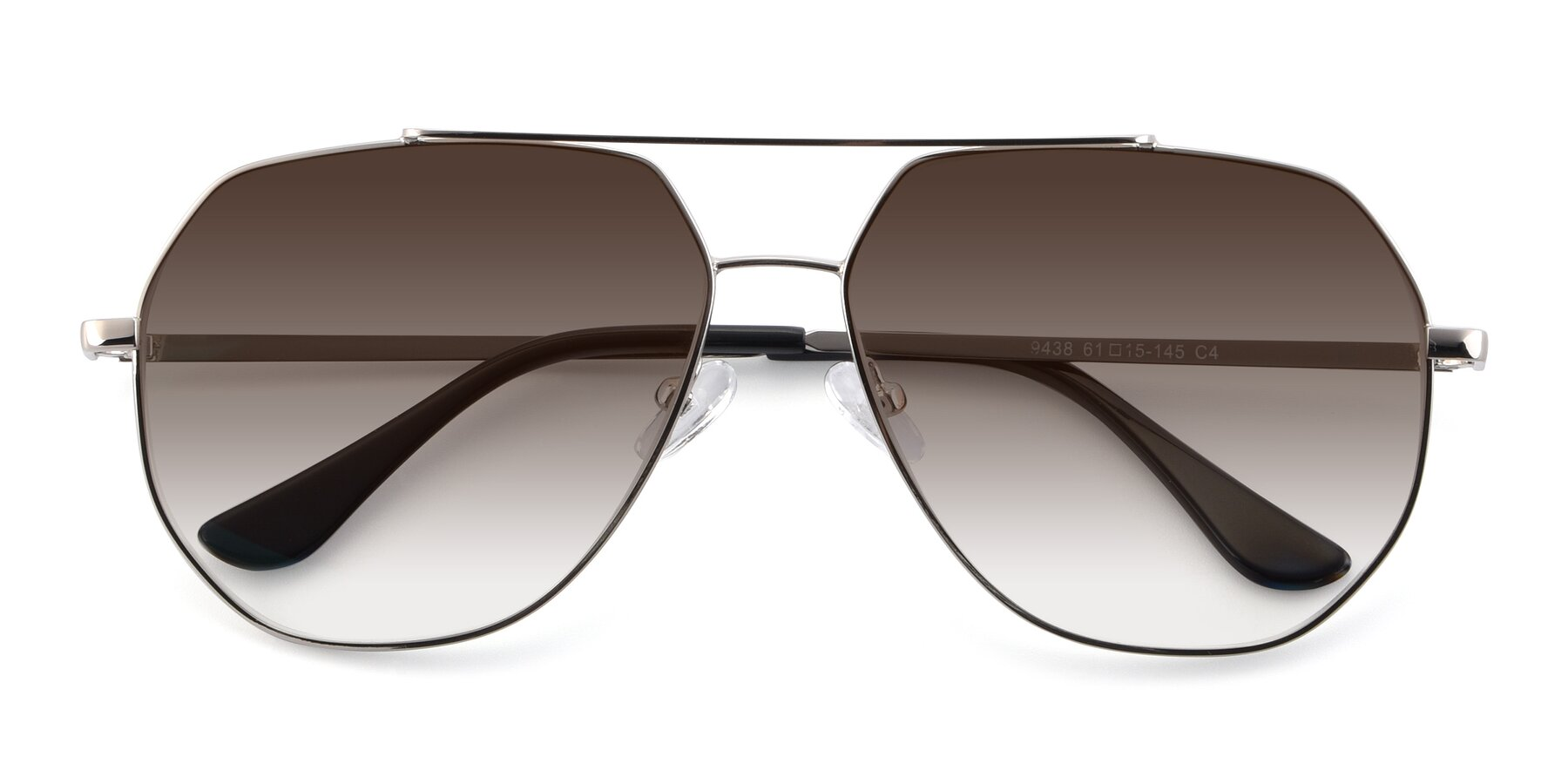 Folded Front of 9438 in Silver with Brown Gradient Lenses