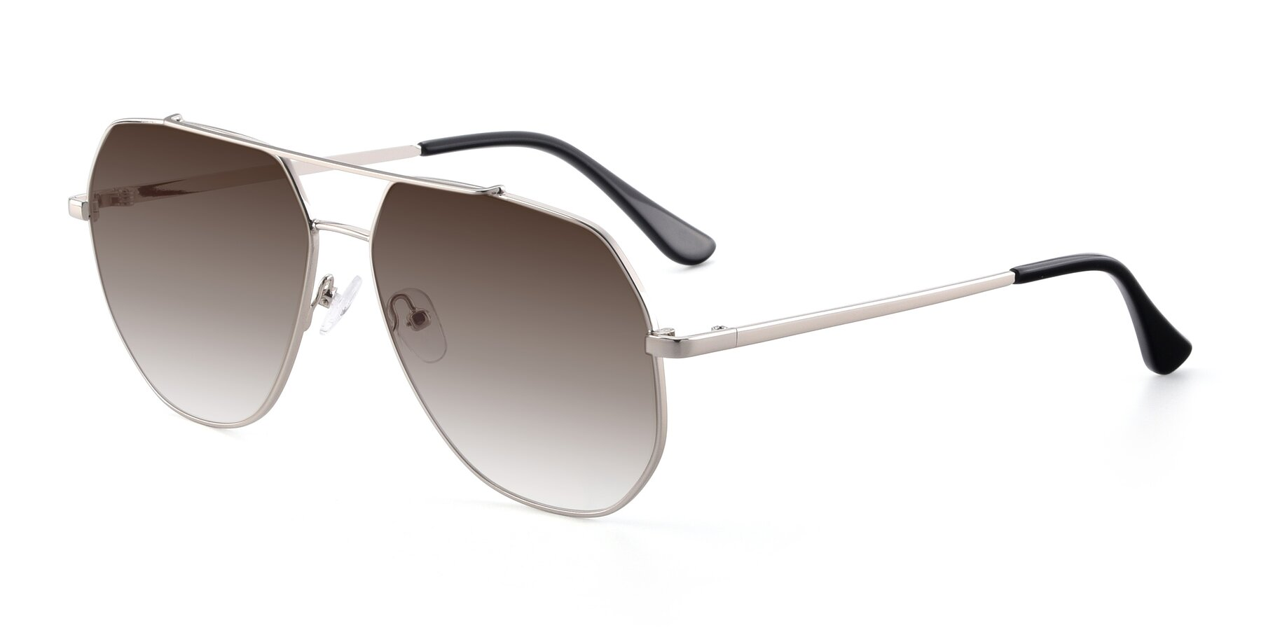 Angle of 9438 in Silver with Brown Gradient Lenses