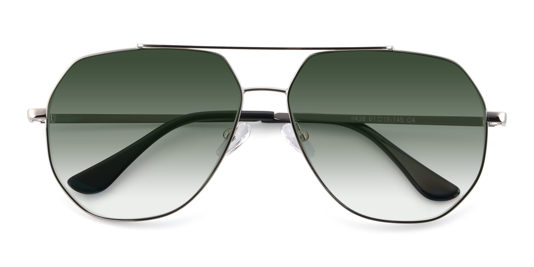 Folded Front of 9438 in Silver with Green Gradient Lenses