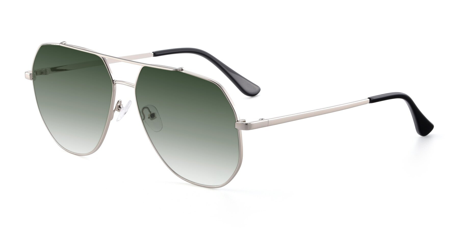 Angle of 9438 in Silver with Green Gradient Lenses