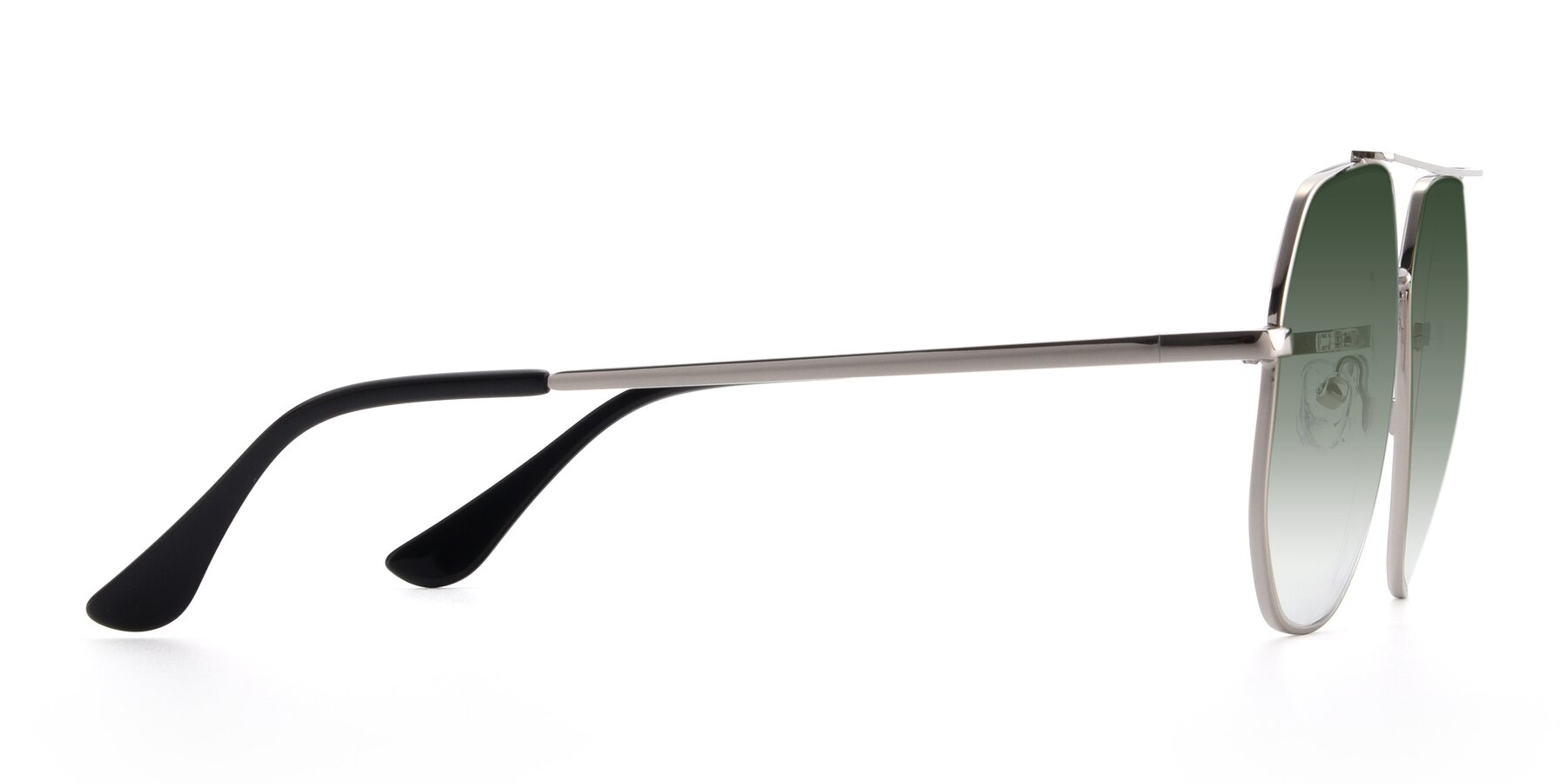 Side of 9438 in Silver with Green Gradient Lenses
