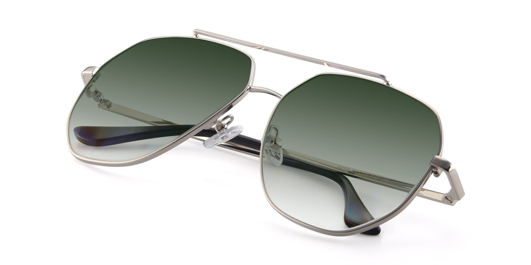 View of 9438 in Silver with Green Gradient Lenses