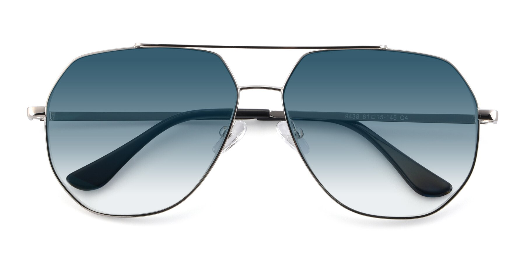 Folded Front of 9438 in Silver with Blue Gradient Lenses