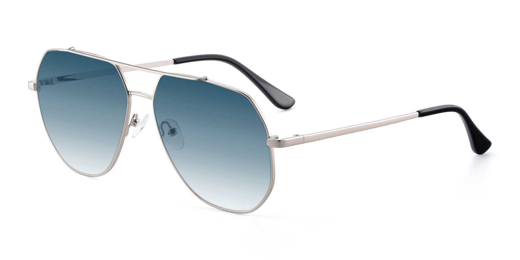 Angle of 9438 in Silver with Blue Gradient Lenses