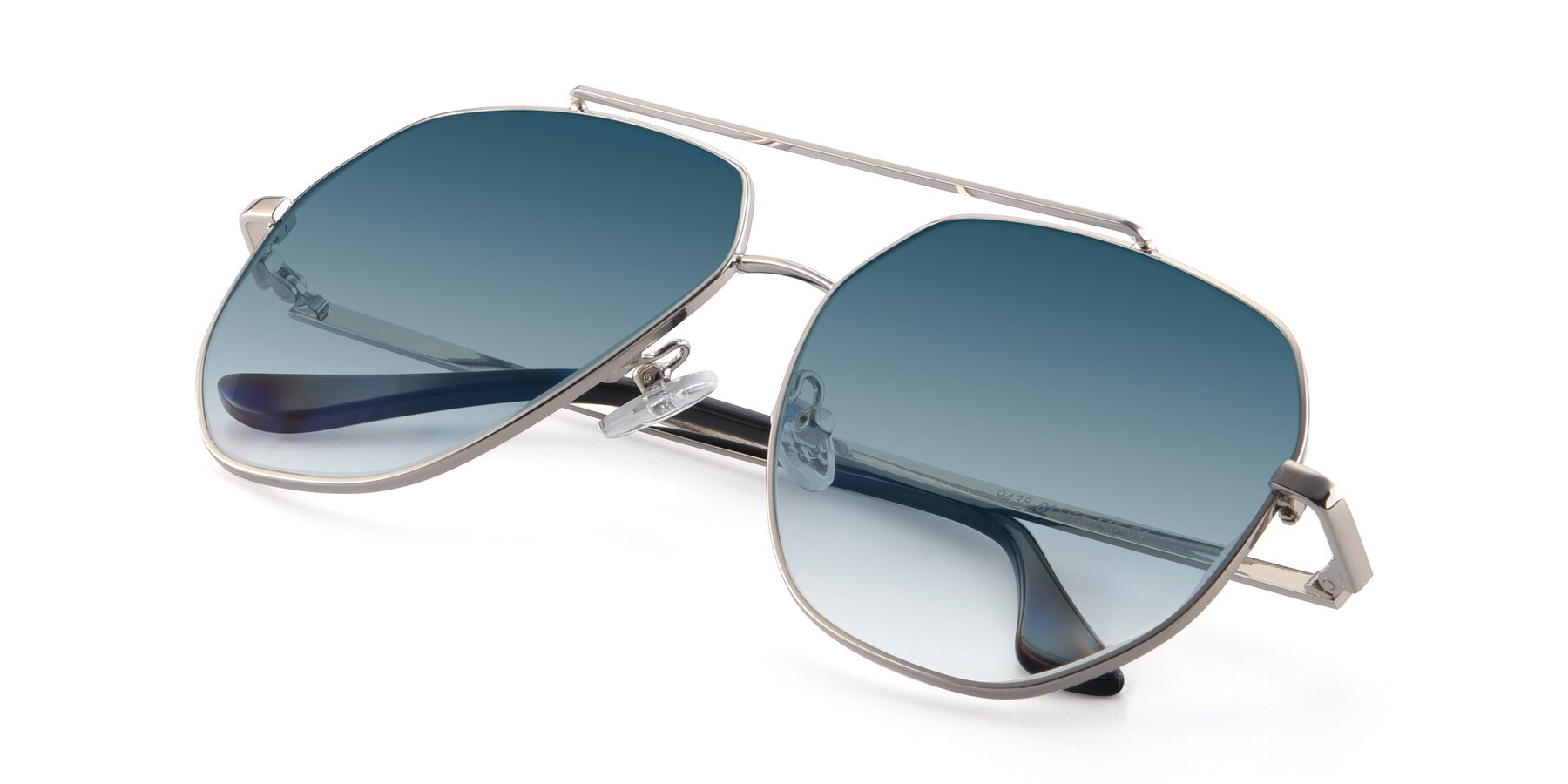 View of 9438 in Silver with Blue Gradient Lenses