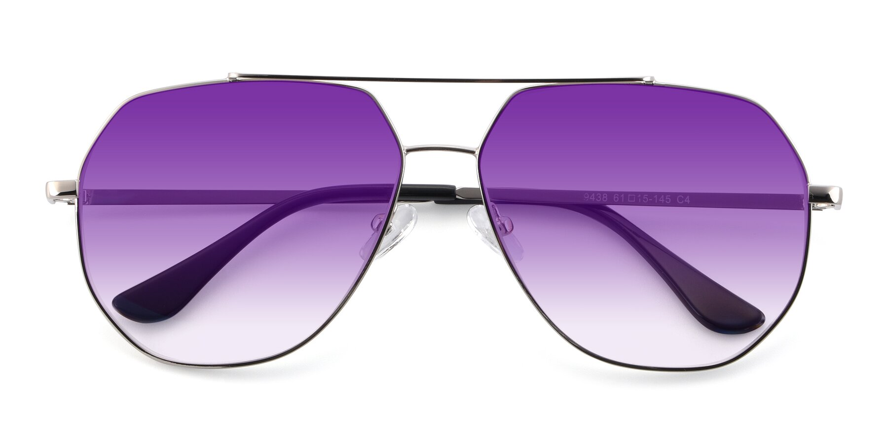 Folded Front of 9438 in Silver with Purple Gradient Lenses
